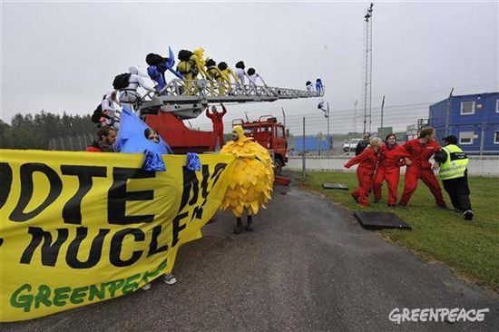 Greenpeace activists protests against nuclear energy in Sweden.