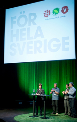 Political leaders for the Swedish opposition parties speaking at a political event earlier this year.