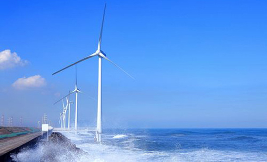 "Pictured here is ""Kamisu"", the semi-offshore wind farm in Japan which was left unharmed by the earthquake and tsunami on March 11."