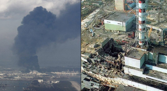 The left photo shows smoke coming from the Fukushima nuclear plant and the photo to the right shows the destroyed Chernobyl nuclear plant.