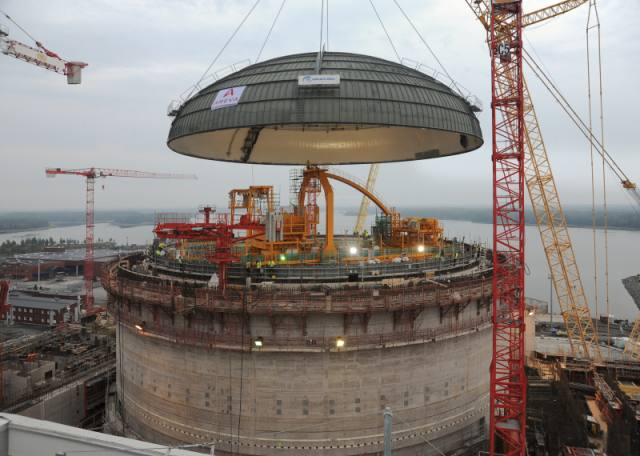 Seen here is the construction of the Olkiluoto 3 nuclear reactor in Finland.