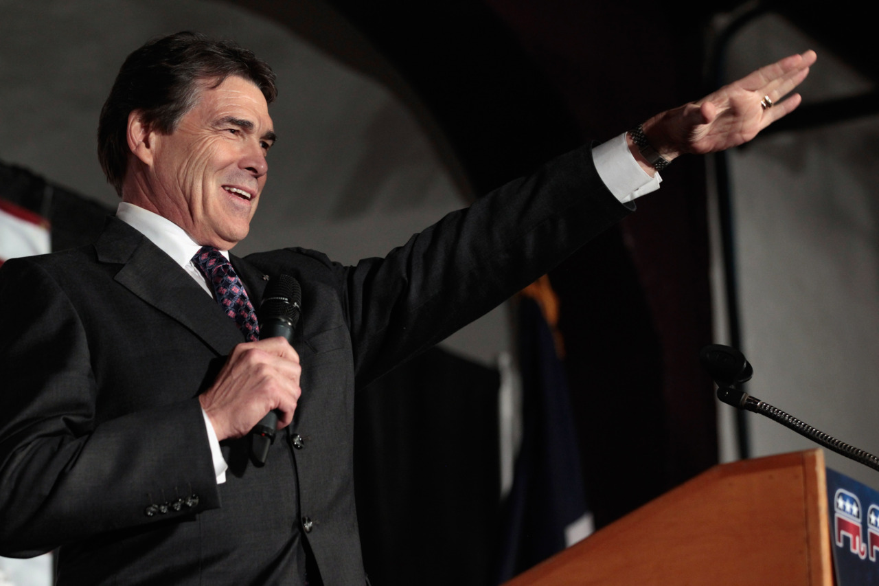 Pictured here is Rick Perry, one of the three front-runners in the Republican primary.
