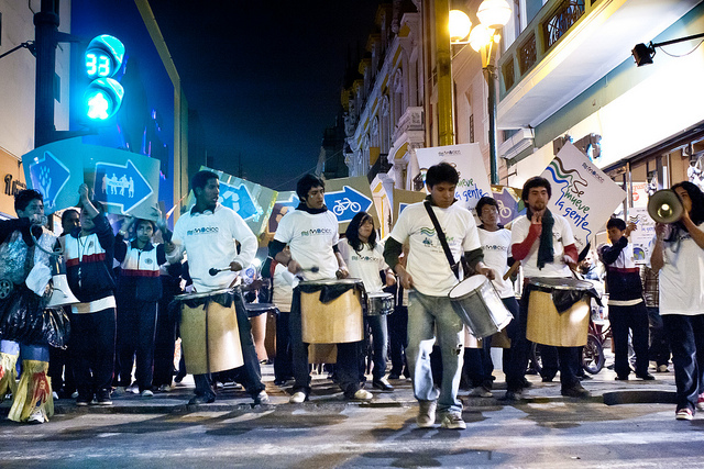 Young band members drum in the streets of Lima, Peru, at a nighttime action with Moving Planet. The evening event was one of 2,000 that are happening in over 175 countries worldwide on September 24th. The day is being organized by 350.org in partnership with hundreds of organizations around the world.