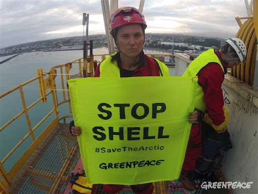 Lucy Lawless protesting Shell's planned exploration for oil in the Arctic.