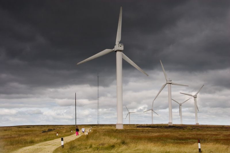 The wind-farm on Ovenden Moor near Bradford, West Yorkshire, UK. Photo by Rick Harrison.