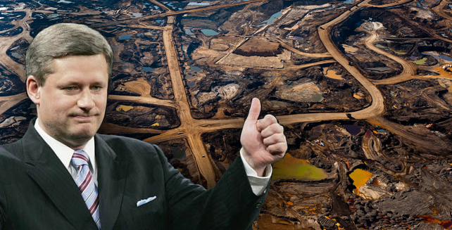 Stephen Harper gives a thumbs-up for climate killing tar sands and environmental destruction