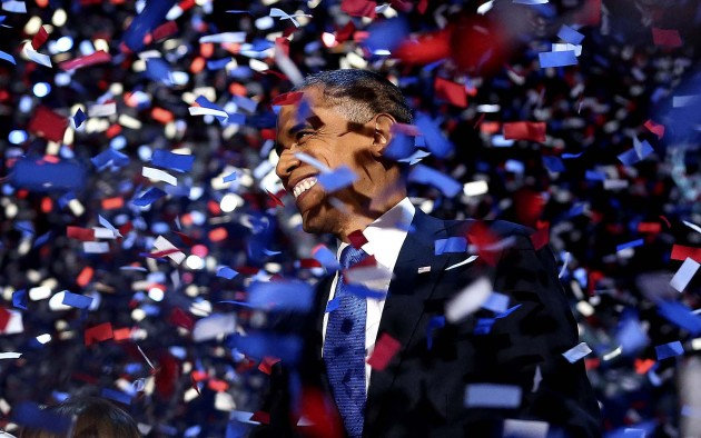 President Obama is showered with confetti after his speech.