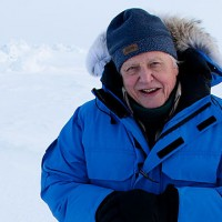 David Attenborough filming in Antarctica for the documentary Frozen Planet.