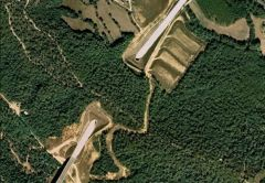 Aerial view of a wildlife overpass