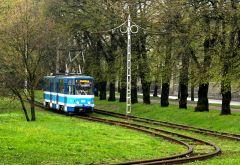 A tram in Tallinn during a rainy day